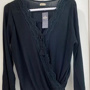NWT Hollister beautiful faux wrap top
